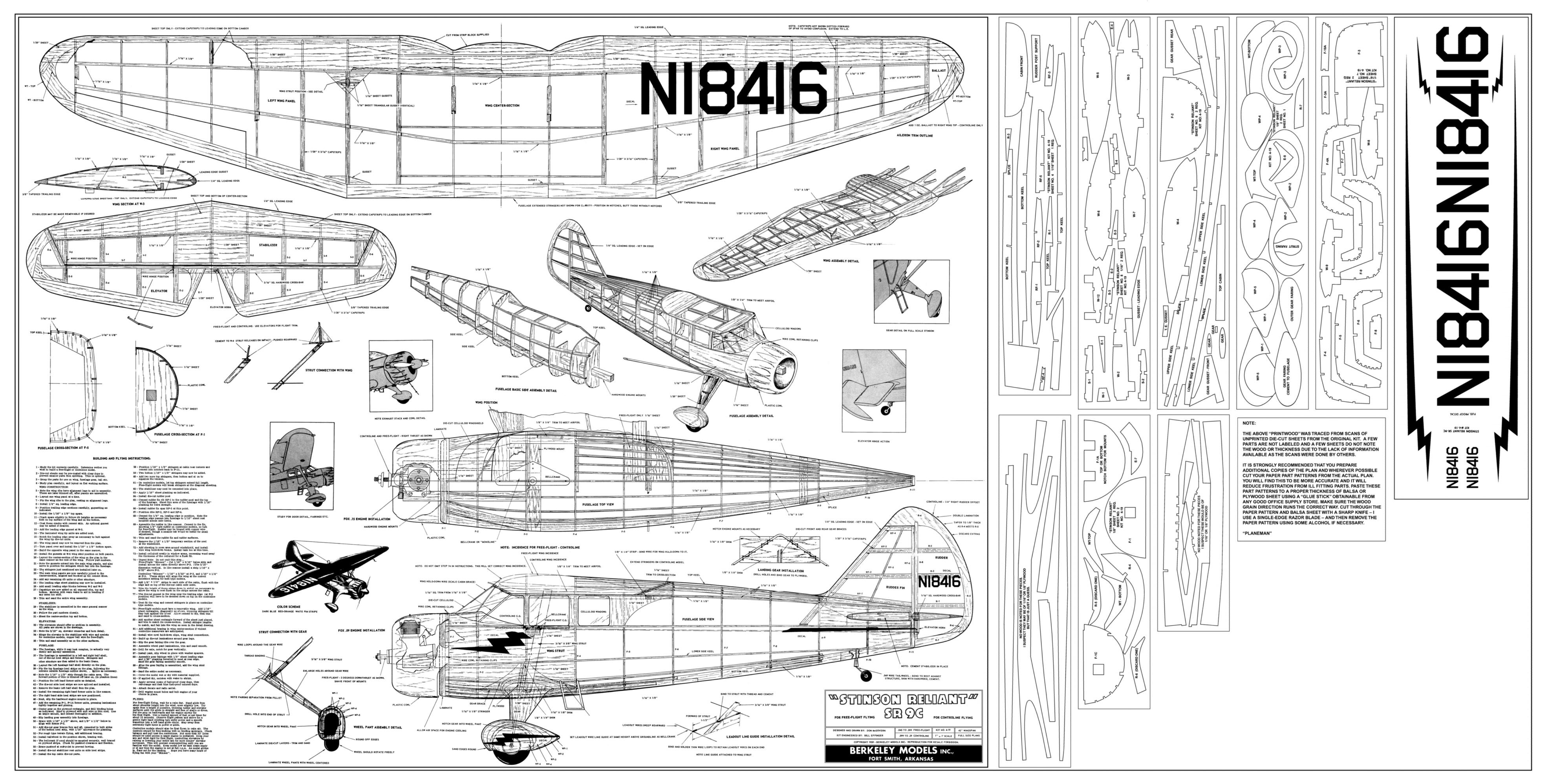 Pln Stinson Reilant Alebo Cessna C37 Airmaster Modelrske Wiring Diagram Bydlisko